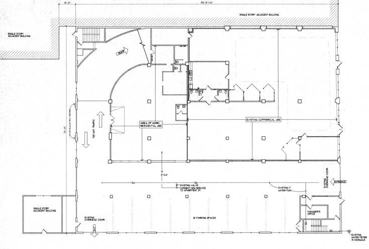 First Floor Plan of the Garage Loft Apartments